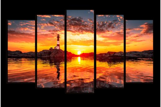 Модульная картина Закат и маяк